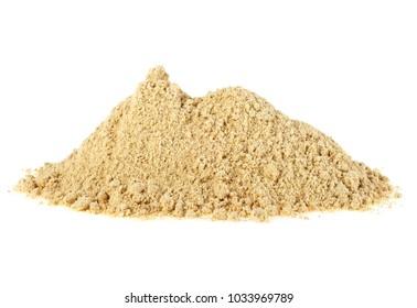 Pile of ginger powder on white background