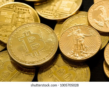 Pile of gold coins alongside bitcoins to illustrate investment choice