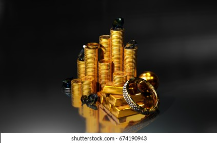 Pile of gold coins, ingots, jewels, diamonds on dark background. 3D illustration with space on left and right.