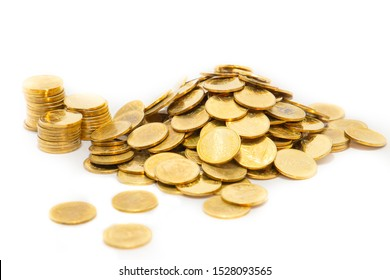 A pile of gold coins, two baht coins in Thailand White background isolate