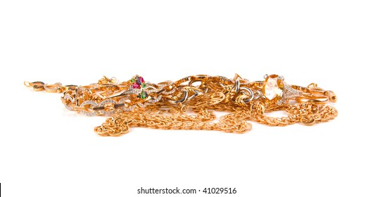 Pile of Gold Jewelry on a white background
