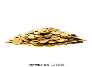 A pile of golden coins