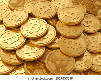 A pile of golden coins - bitcoin cryptocurrency, realistic 3d illustration