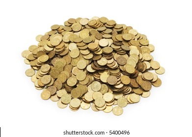 Pile of golden coins isolated on white