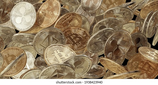 Pile of golden cryptocurrency coins with Bitcoin, Ethereum, Zcoin,  ripple symbol zoom in background.