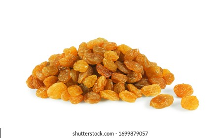 Pile of golden raisins made from seedless white Sultana grape isolated on white background