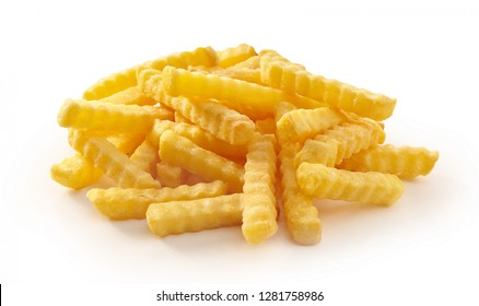 Pile of Golden rippled french fries on isolate white background.