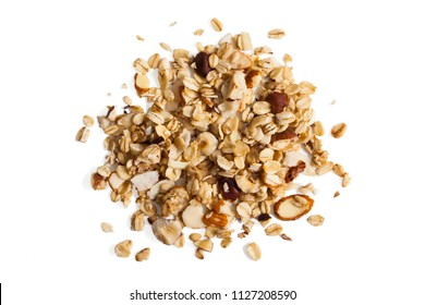 Pile of granola from above isolated on a white background.