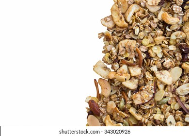 Pile of granola cereal isolate on white