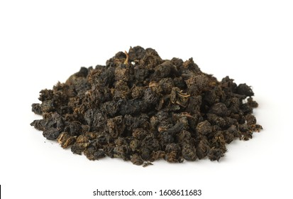 Pile of granular black tea isolated on white