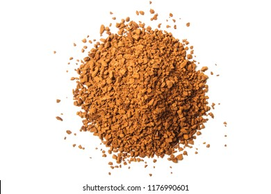 Pile of granulated coffee isolated on white