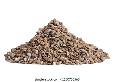 Pile of gravel on white background