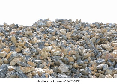 Pile of gravel, stones and cliffs of different sizes on white background