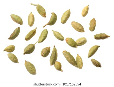 Pile of green Cardamom, cardamon or cardamum (dried fruits of Elettaria cardamomum) isolated on white. shadow separated top view