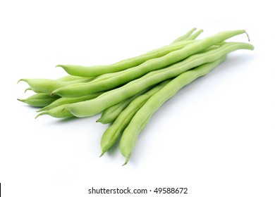 Pile of green french beans in isolated white background.