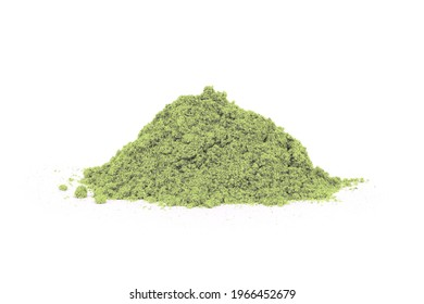 Pile of green herbal powder isolated on white background.