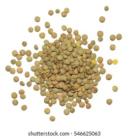 Pile of green lentil isolated on white background. Top view.
