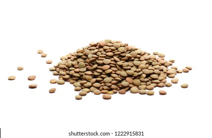 Pile of green lentils isolated on white background