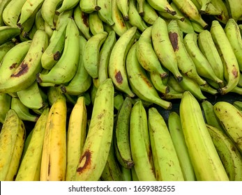 Pile of green plantains on sale at a market, Panama, Central America