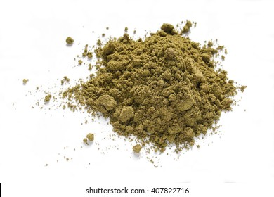 Pile of green powder from hemp for health, source of chlorophyll, vitamins and minerals. Not a drug.