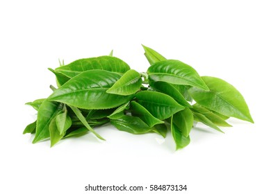 pile of green tea leaves isolated on white background