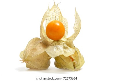 a pile of ground cherries isolated on a white background