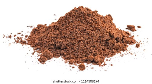 Pile of ground coffee isolated on white background