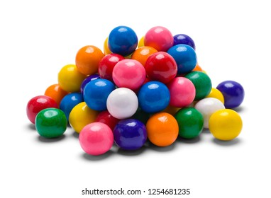 Pile of Gum Balls Isolated on White Background.