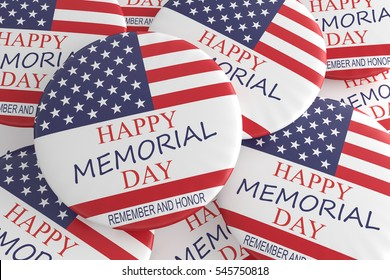 Pile of Happy Memorial Day Badges With US Flag, 3d illustration