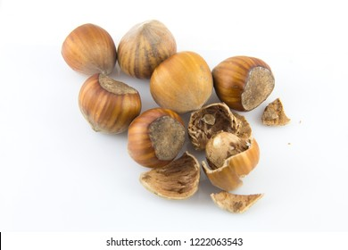 a pile of hazelnuts on white background not isolated