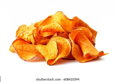 Pile of healthy sweet potato chips isolated on a white background