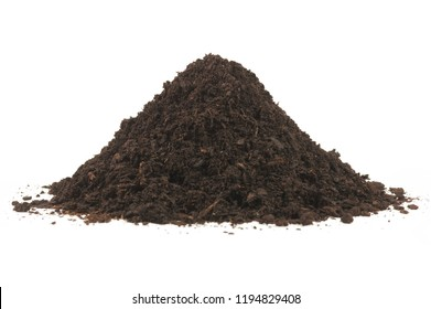 Pile heap soil humus isolated over a white background.