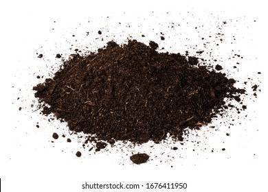 Pile heap of soil humus isolated on white background.