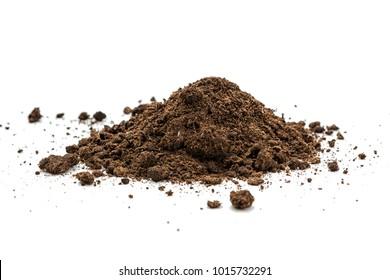 Pile heap of soil humus on white background