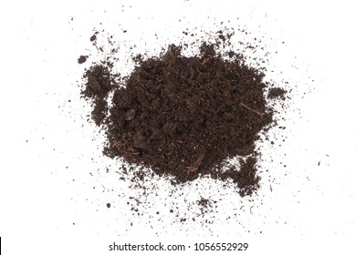 Pile heap of soil isolated on white background
