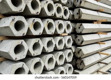 The pile of hexagon concrete foundation piles.
