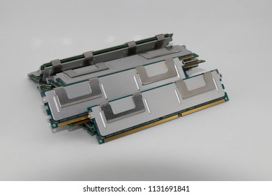 pile of High performance DDR RAM memory module isolated on white background