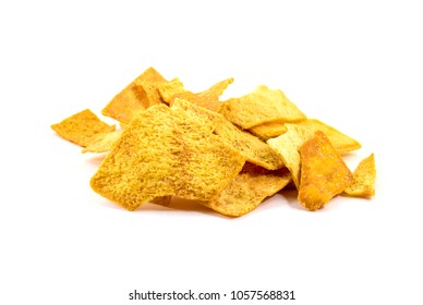 Pile of home baked crunchy pita chips - isolated