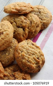 A pile of Homemade chocolate and nut cookies