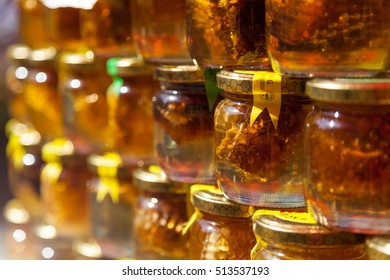 Pile of honey jars at Farmer's market in Zagreb, Croatia on 29 September 2016