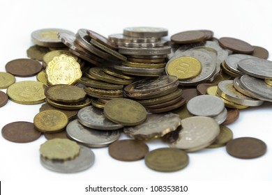 A pile of Hong Kong money coins with white background