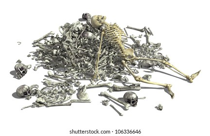 A pile of human bones with an intact skeleton on top - 3D render.