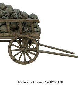 A pile of human skulls scattered in a wooden cart of death