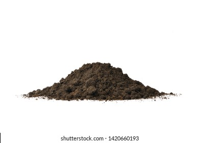 Pile of humus soil for plant with mountain shape isolated on white background.