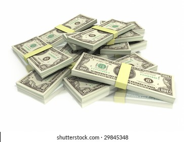 A pile of hundred dollar bills stacked on a white background with a clipping path
