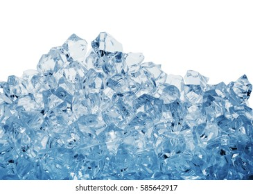 Pile of the ice cubes toned in blue isolated on white background