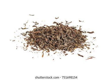 Pile of Indian dry black tea. Isolated on white background selective focus
