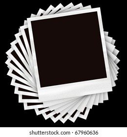 A pile of instant film photos arranged in a circular pile over a black background.