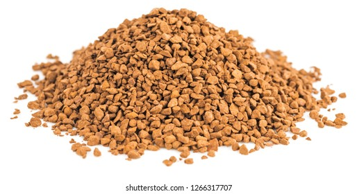 Pile of instant granulated coffee isolated on white background