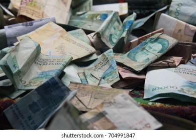 A pile of Iranian money in many values